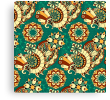 Floral mechanism seamless pattern Canvas Print