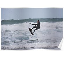High flyer at Fistral beach, Cornwall Poster