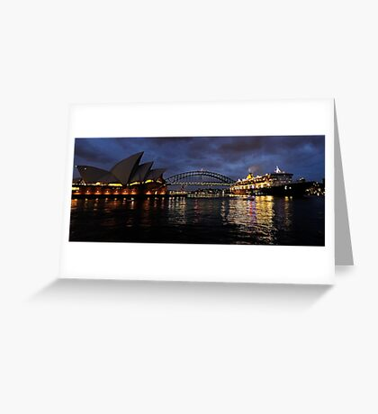 Morning Encounter - Queen Mary 2 ,Sydney Opera House, Sydney Harbour Bridge, Sydney Harbour  Greeting Card