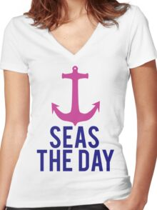 Seas The Day Women's Fitted V-Neck T-Shirt