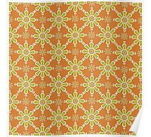 Chic Flower Pattern, Rusty Red, Green, Cream Poster
