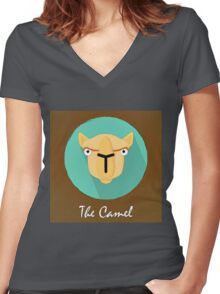 The Camel Cute Portrait Women's Fitted V-Neck T-Shirt