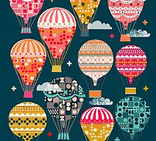 Hot Air Balloons - Retro, Vintage-inspired Print and Pattern by Andrea Lauren by Andrea Lauren