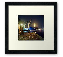Boat in Harbor at Night Framed Print