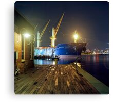 Boat in Harbor at Night Canvas Print