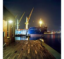 Boat in Harbor at Night Photographic Print