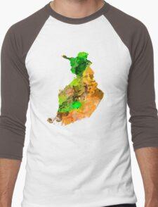 Map of  Finland Men's Baseball ¾ T-Shirt