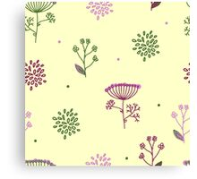 Elegance Seamless pattern with flowers, vector floral illustration in vintage style, Ukraine, dill Canvas Print