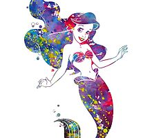 Little Mermaid Ariel Disney Princess Watercolor by bittermoon