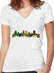 Skyline of Fort Worth Texas USA Women's Fitted V-Neck T-Shirt