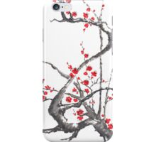 Chinese plum tree blossom sumi-e painting iPhone Case/Skin