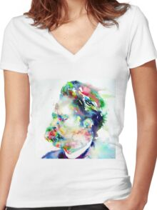NIETZSCHE watercolor portrait.3 Women's Fitted V-Neck T-Shirt