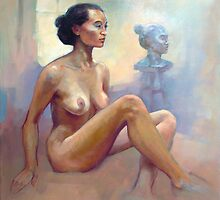 Female nude and sculpture  by Roz McQuillan