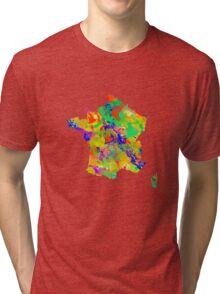 Watercolor Map of  France Tri-blend T-Shirt