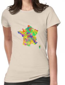 Watercolor Map of  France Womens Fitted T-Shirt