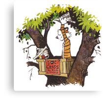 calvin and hobbes on tree  Canvas Print