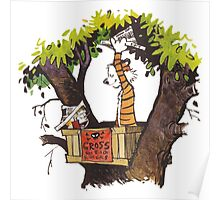 calvin and hobbes on tree  Poster
