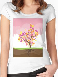 Stylized Autumn Tree 2 Women's Fitted Scoop T-Shirt