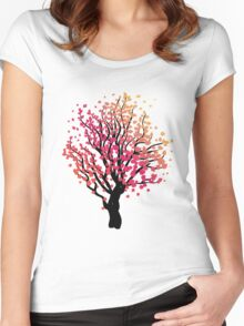 Stylized Autumn Tree 4 Women's Fitted Scoop T-Shirt