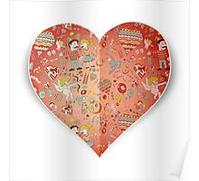 Heart of doodle elements Poster