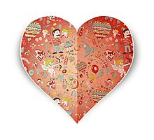 Heart of doodle elements Photographic Print