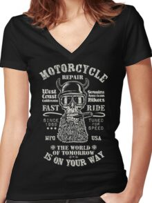 Motorcycle repair Fast Ride with biker skull Women's Fitted V-Neck T-Shirt