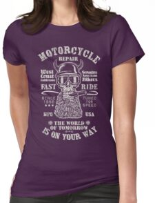 Motorcycle repair Fast Ride with biker skull Womens Fitted T-Shirt