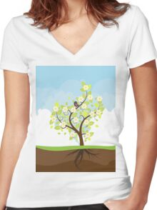 Stylized Spring Tree Women's Fitted V-Neck T-Shirt