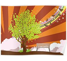 Summer illustration with green tree Poster