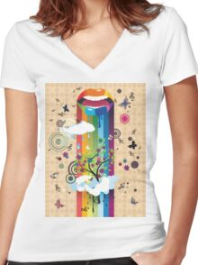 Surreal Tree Women's Fitted V-Neck T-Shirt