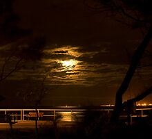 Moonlight at Shorncliffe Pier by J Harland
