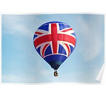 Red White Blue British Union Jack Flag Hot Air Balloon in Flight Poster