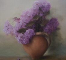 blossom in terracotta jug by benedicta