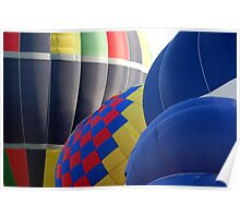Closeup Patterns and Curves of Tethered Hot Air Balloons Poster