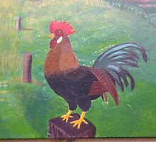 Rooster (detail from mural) by Andrew Shinn