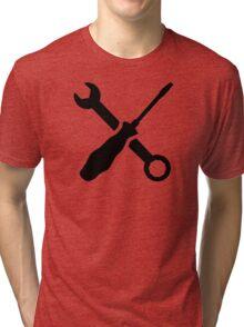 Crossed screw wrench screwdriver Tri-blend T-Shirt