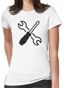 Crossed screw wrench screwdriver Womens Fitted T-Shirt
