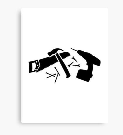 Screwdriver hammer nails saw Canvas Print