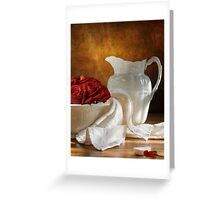 White Wheat And Roses Greeting Card
