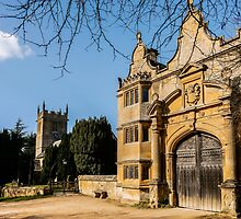 Cotswold Gatehouse & Church. by ScenicViewPics