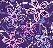 Night violet  floral pattern by olgart