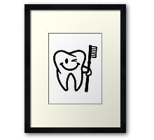 Happy tooth toothbrush Framed Print