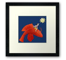 Girl on Flying Fish Framed Print