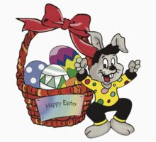 Easter bunny with Easter egg basket Kids Tee