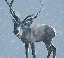 Reindeer low poly (winter) by nektarinchen