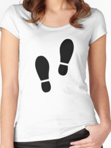 Black shoe prints Women's Fitted Scoop T-Shirt