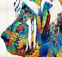 Colorful Bloodhound Dog Art By Sharon Cummings by Sharon Cummings