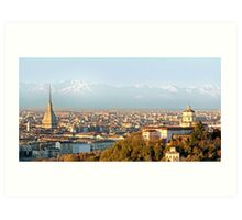 Turin (Torino), panorama at sunset Art Print