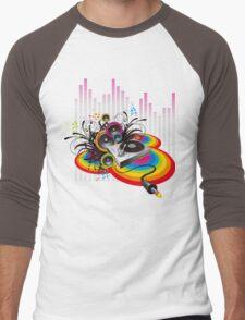 Vinyl Record Music Collage Men's Baseball ¾ T-Shirt