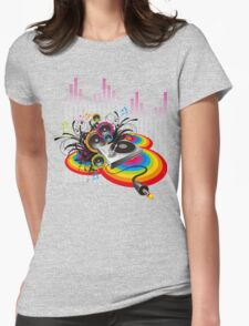 Vinyl Record Music Collage Womens Fitted T-Shirt